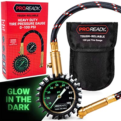 PROREADY Tire Pressure Gauge with Glow-in-The-Dark Analog Dial, 0-100 PSI - Portable Air Pressure Reader for Cars, Trucks, Bikes, Motorcycles - Compact, Easy-Read Gauges with Certified Accuracy: Automotive