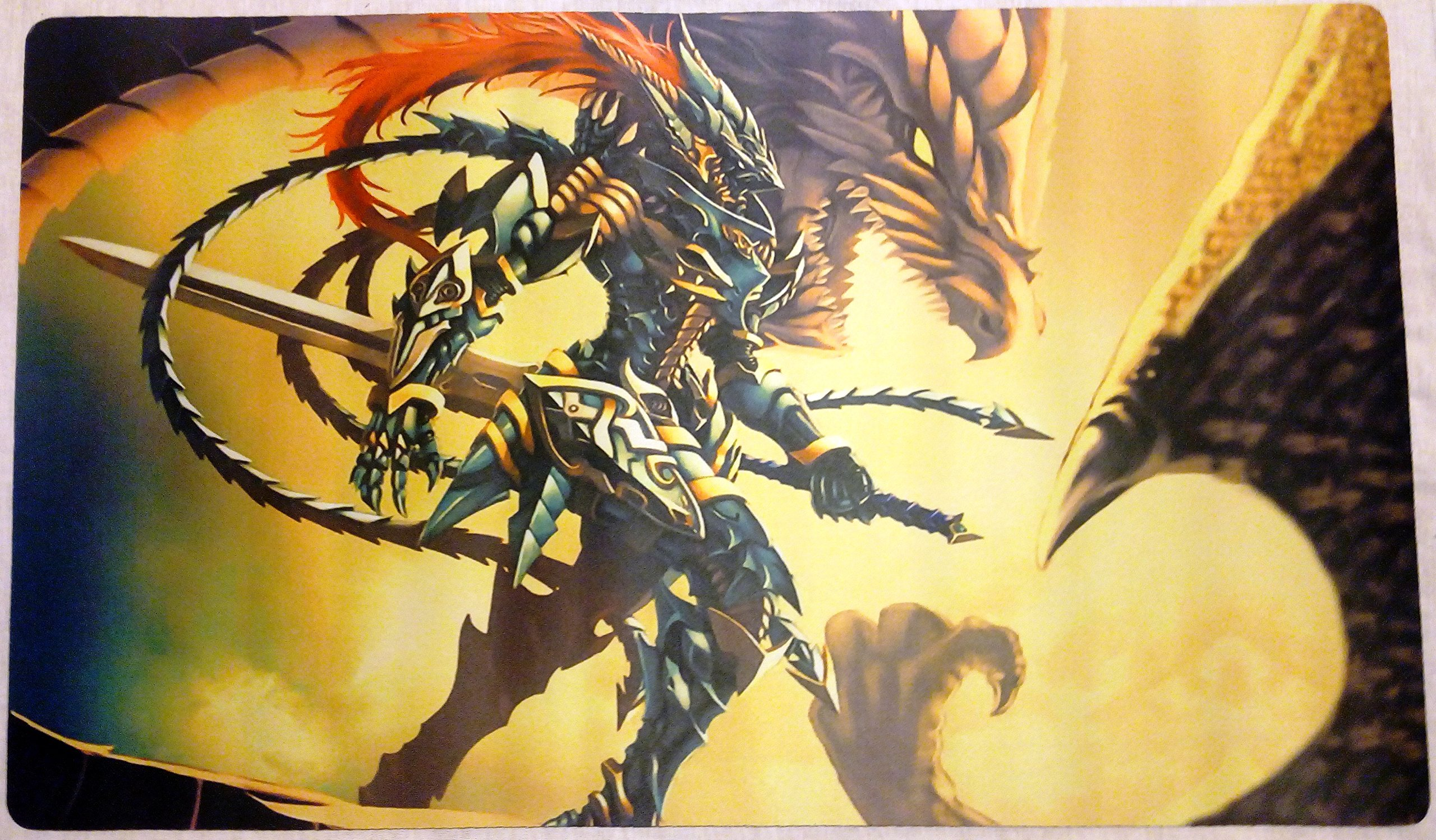 Black luster Soldier BLS yugioh TCG playmat, gamemat 24'' wide 14'' tall for trading card game smooth cloth surface rubber base