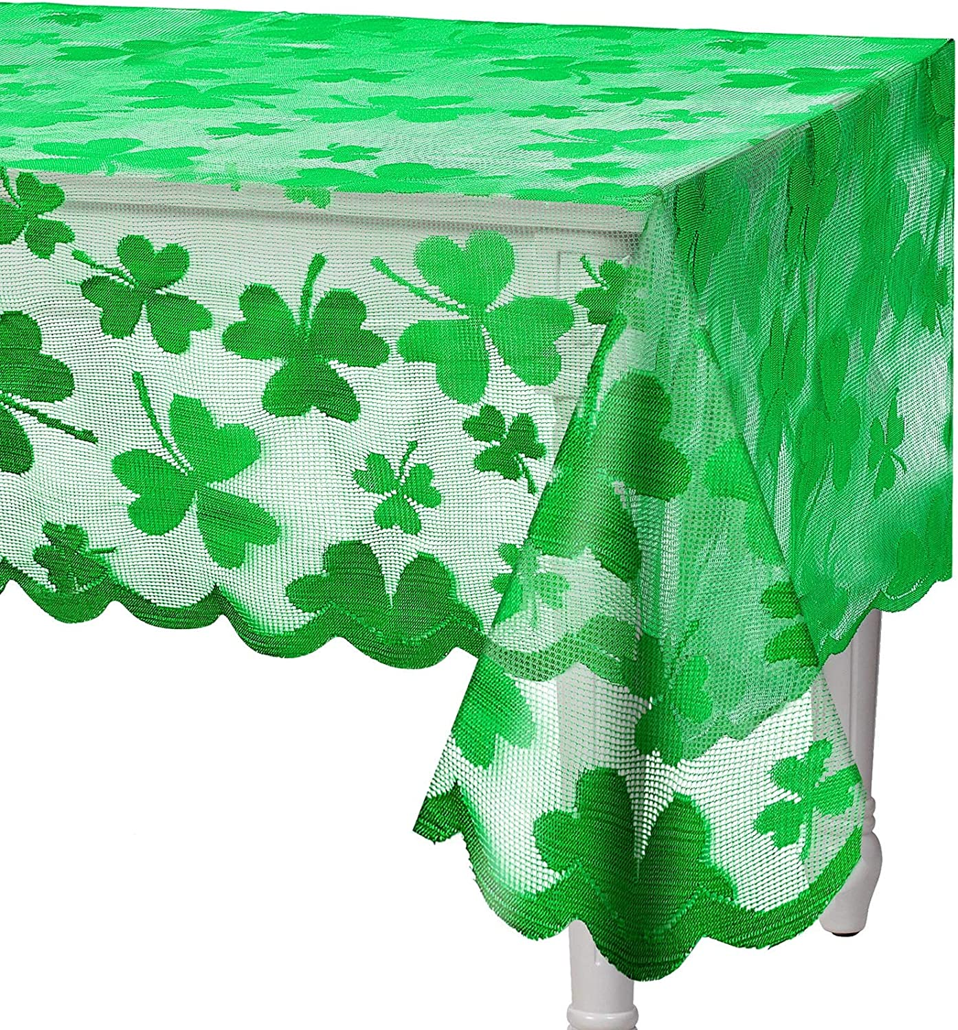St Patrick's Day Tablecloth Rectangle Lace Irish Table Cloth Holiday Green Clover Table Cloth with Embroidered Shamrock for St Patrick's Day and Family Dinners Party, 60 x 84 Inch, Seat 6-8 People