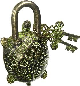 Antique Style Tortoise Type Padlock - Lock with Key - Brass Made - Black - Padlock