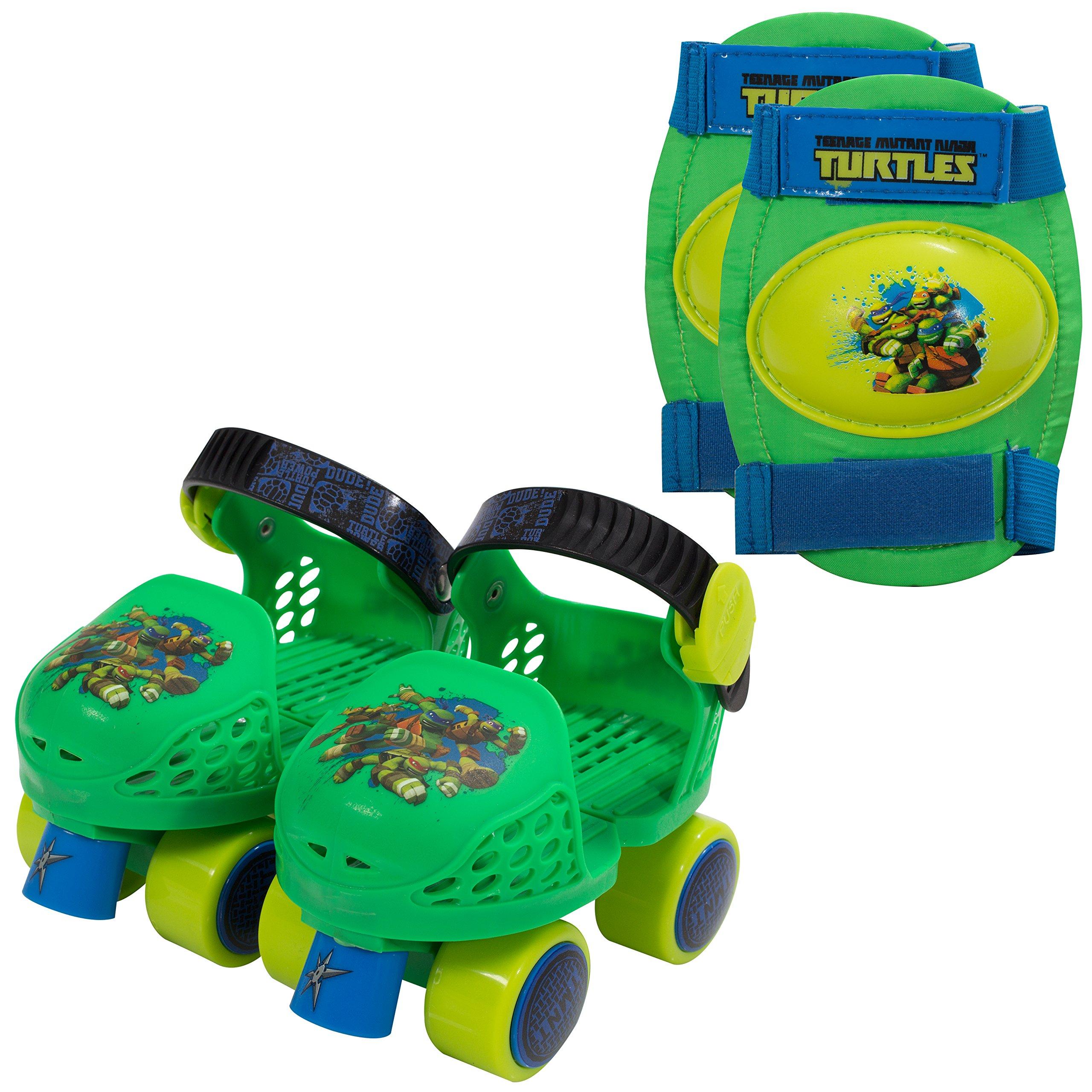 PlayWheels Teenage Mutant Ninja Turtles Roller Skates with Knee Pads, Junior Size 6-12