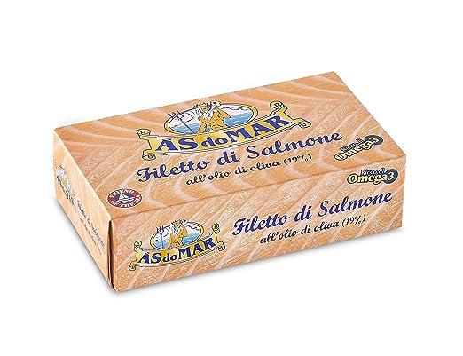 2 opinioni per Asdomar- Filetto Di Salmone, All'Olio Di Oliva 19%- 5 pezzi da 115 g [575 g]
