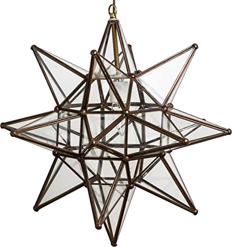 Glass Star Lights – 18 Inch Star Pendant Light Clear