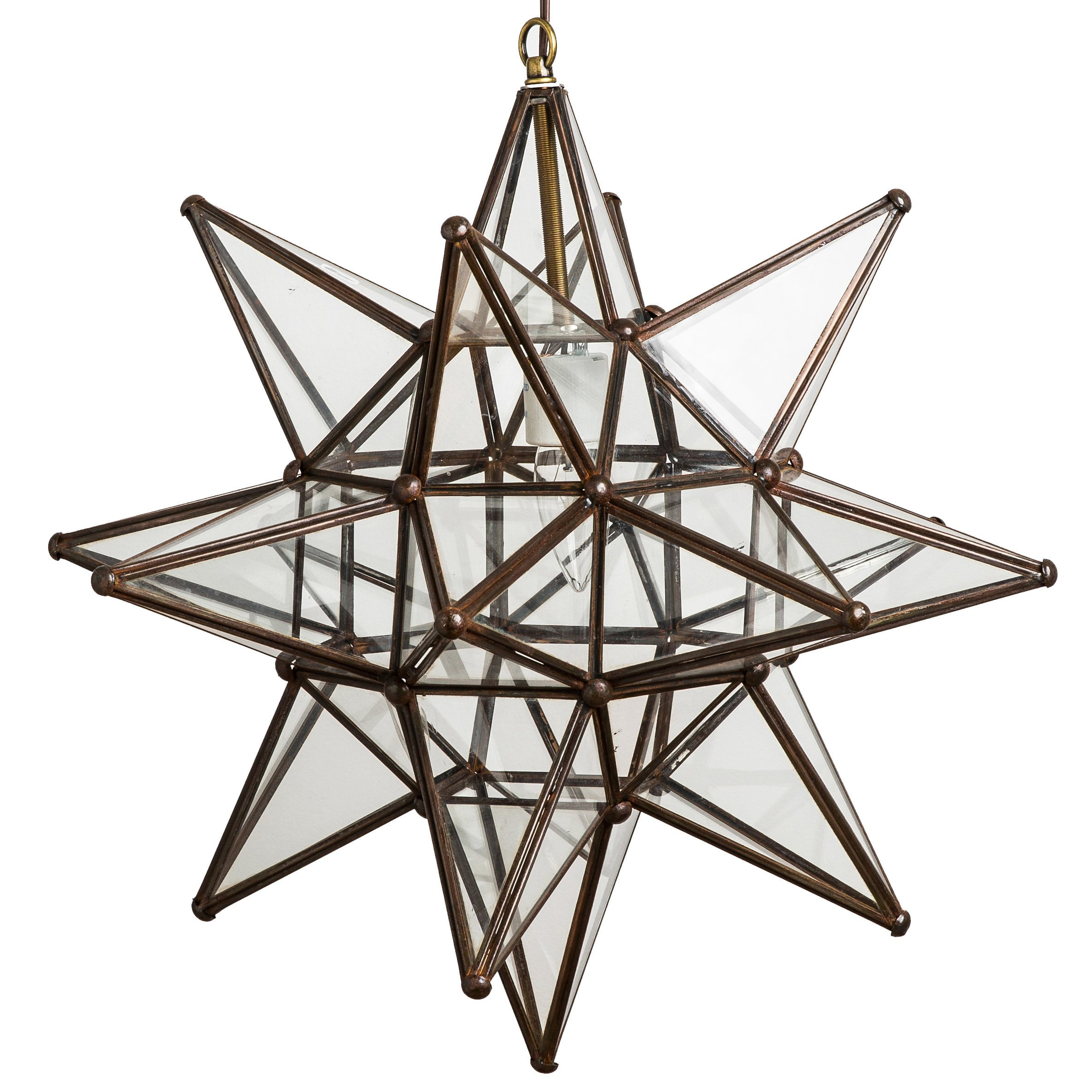 18 Inch Clear Glass Pendant Star Lights