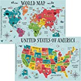 World and US Map Educational Disposable Placemats for Baby, Toddler and Kids - (50 Pack) - Neat and Clean Table Mat - Sticky