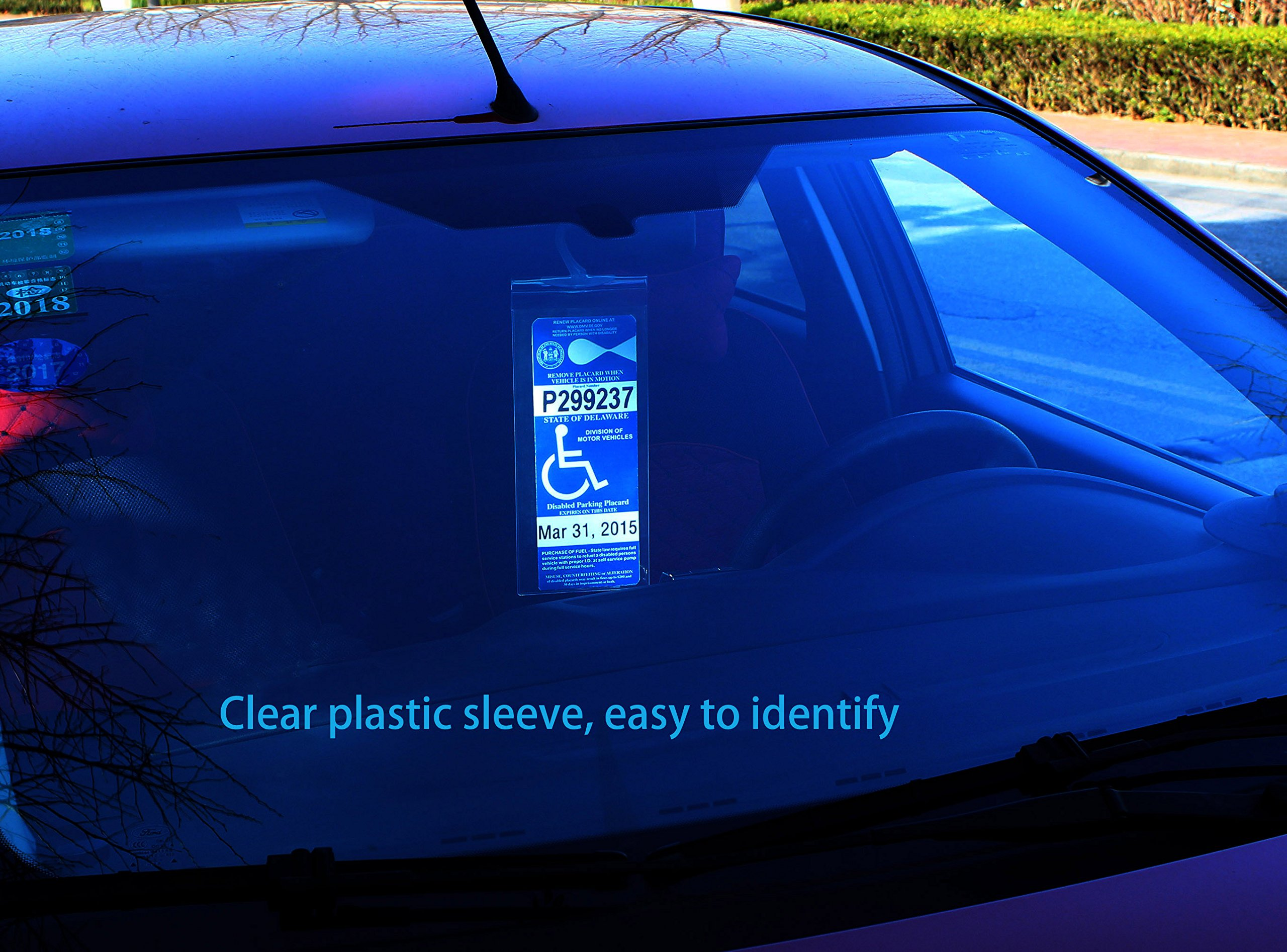 Ultra Transparent Disabled Parking Permit Placard Protective Holder Cover with Large Hanger by Tbuymax TB Tbuymax Handicap Placard Holder Set of 2