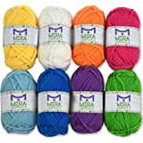 8 Acrylic Rainbow Color Yarn Bonbons - 7 Gifts Included with Each Pack - Resealable Bag - Total of 525 yards Hobby Yarn - Premium Yarn Pack - Crafts Kit for Crochet and Knitting