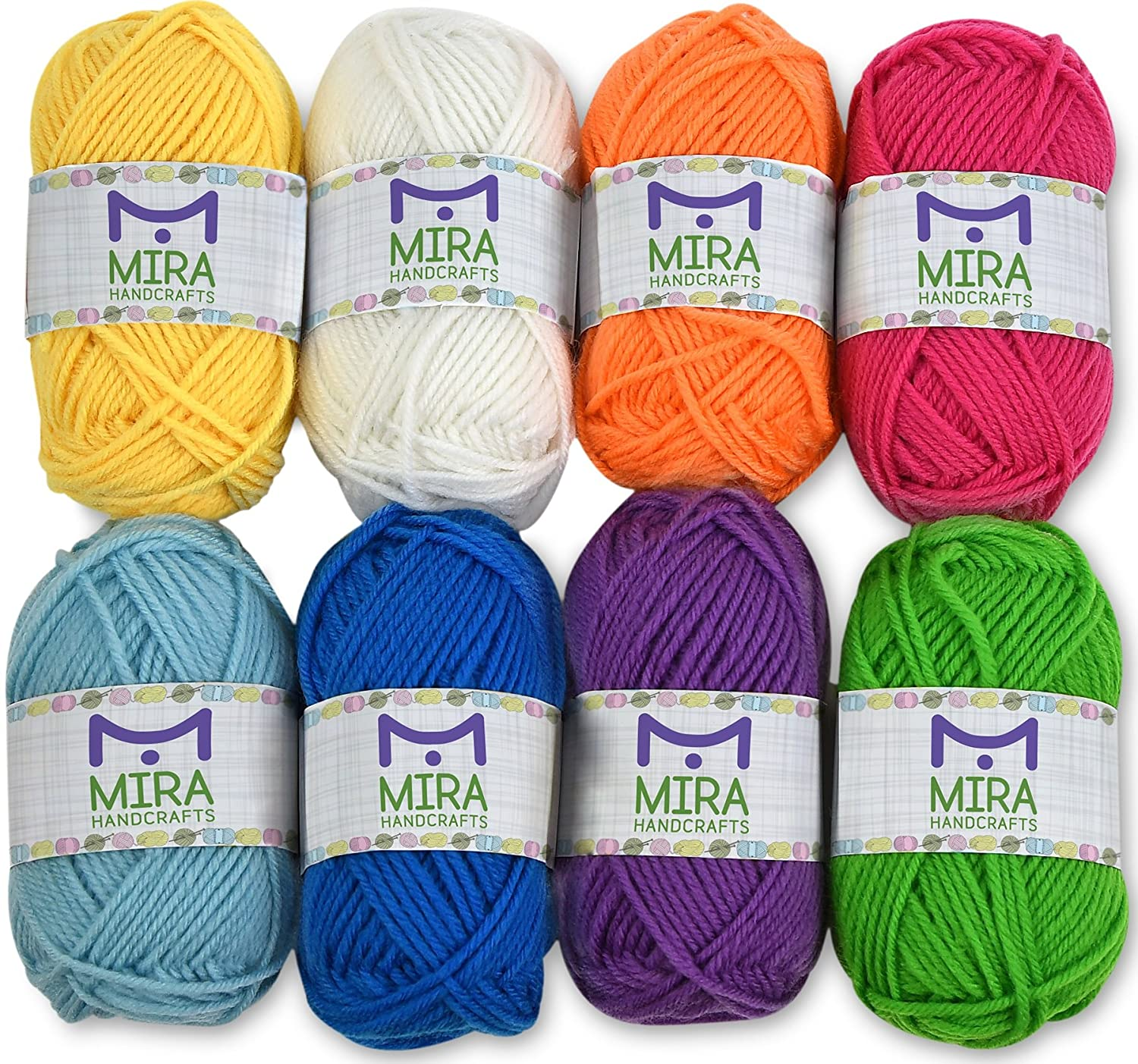 Mira Handcrafts 8 Acrylic Yarn Bonbons | Total of 525 yards Craft Yarn | Includes 2 Crochet Hooks, 2 Weaving Needles, 7 E-books | DK Yarn for Knitting and Crochet | Perfect Beginner Kit MiraGoods 4336926377