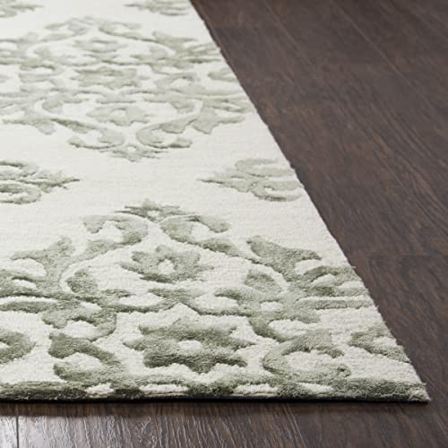 Rizzy Home Eden Harbor Collection Wool Viscose Area Rug, 2 x 3 , Light Gray Gray Rust Blue Ornamental
