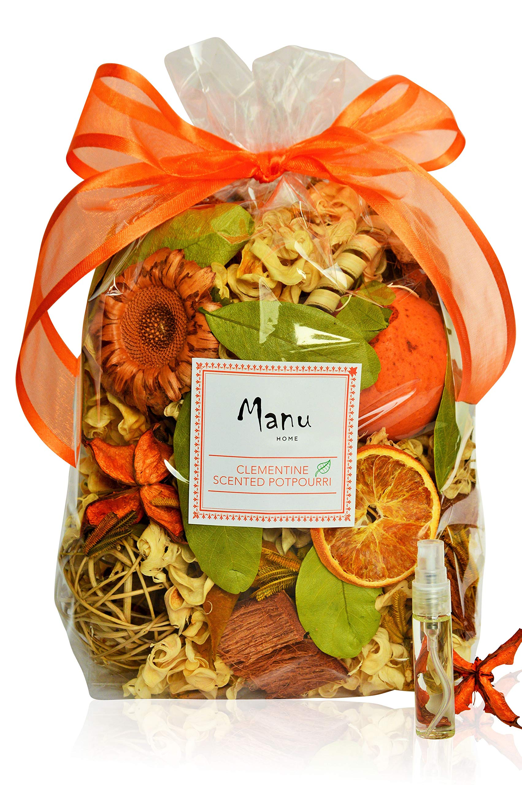 Manu Home Sparkling Clementine Potpourri Bag-12 oz Scented Botanicals ~ Made with All Plant Materials ~ Made in USA