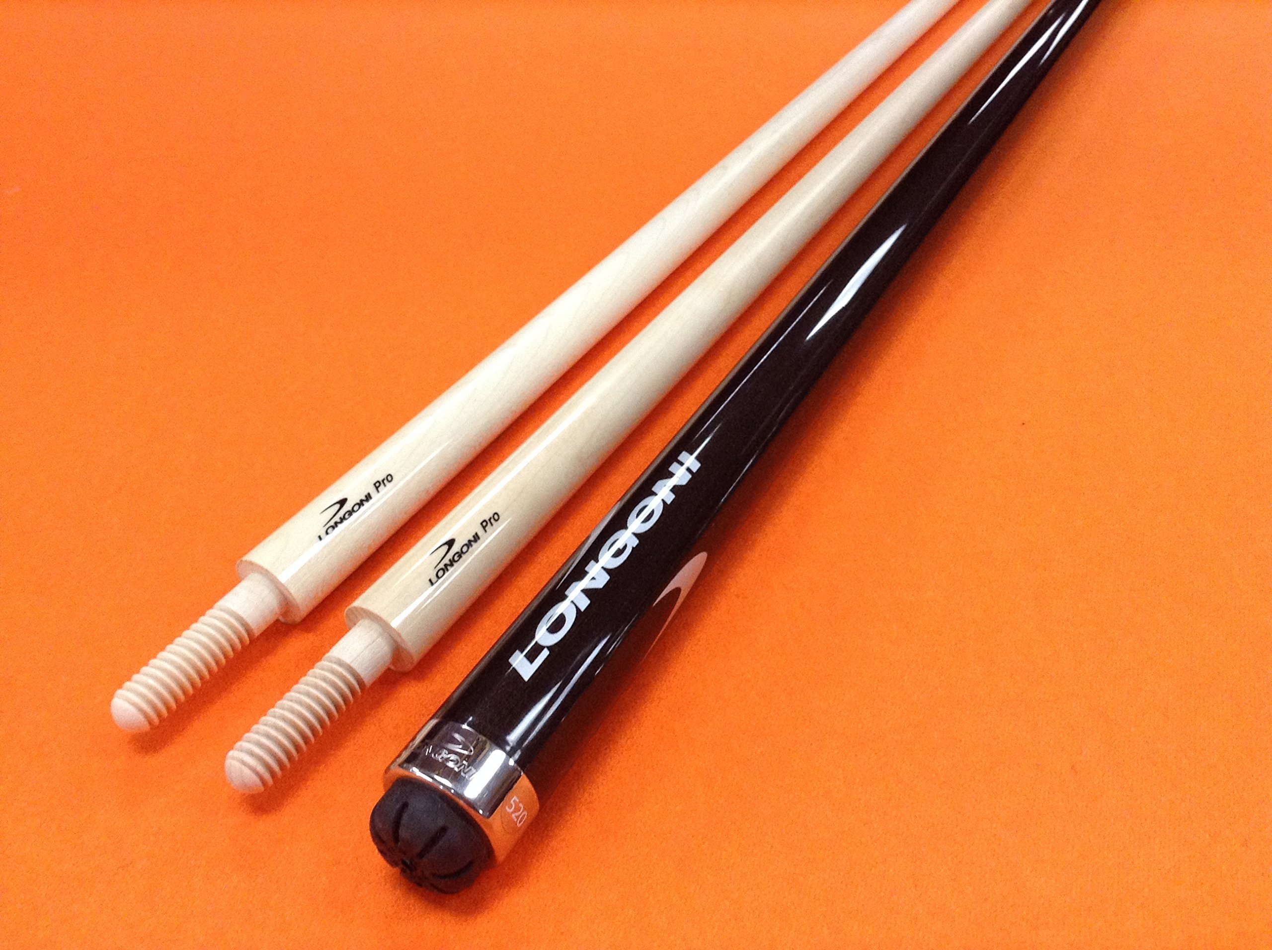 LONGONI CAROM CUE CRYSTAL FOX WITH 2 PRO SHAFTS