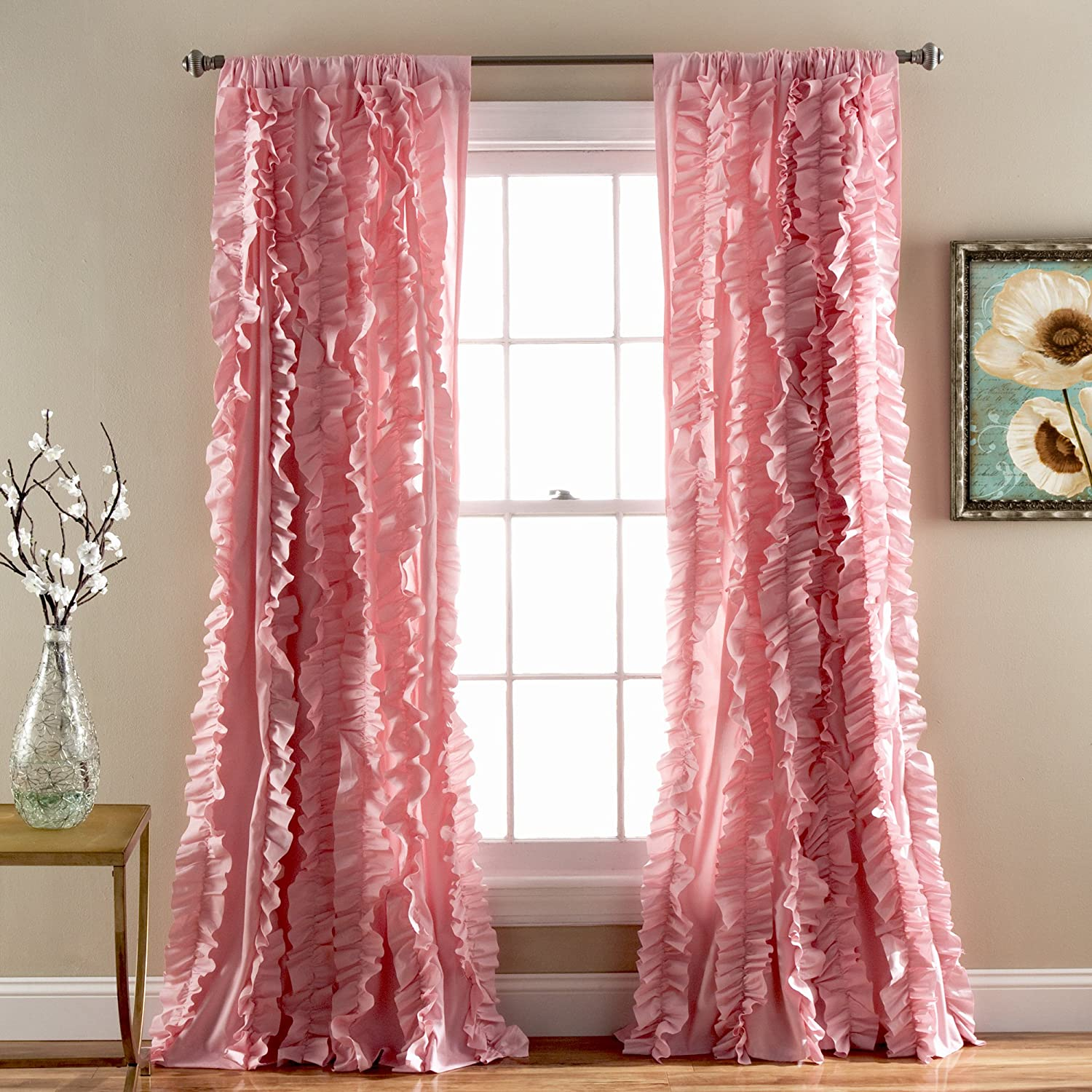 """Lush Decor Belle Window Panel for Living, Dining Room, Bedroom (Single Curtain)), 84"""" x 54"""" Pink (C26144P14-000)"""