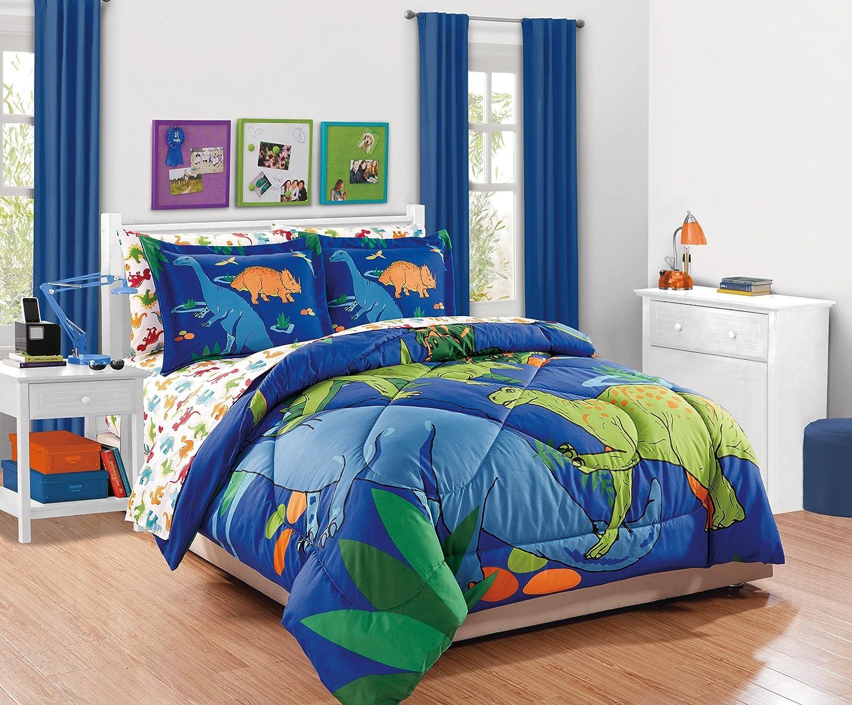Linen Plus Full Size 7pc Comforter Set for Kids Dinosaur White Orange Blue Red New
