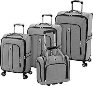 LONDON FOG Newcastle Softside Expandable Spinner Luggage, Black White Herringbone, 4 Piece Set