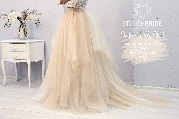 f3fc47d8da Amazon.com: Magic Ombre Wedding Tulle Dress Train, Set Lace 003 Crop Top  with Sleeves and Tulle skirt long, Bridal Tulle Gown, Wedding Nude Tulle  Skirt: ...