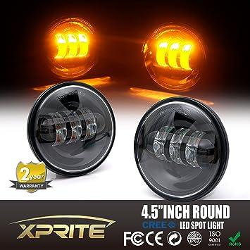 Xprite 4.5u0026quot; Inch Black 60W Cree Led Spot Lights 2700k Amber Passing  Projector Fog Lamp