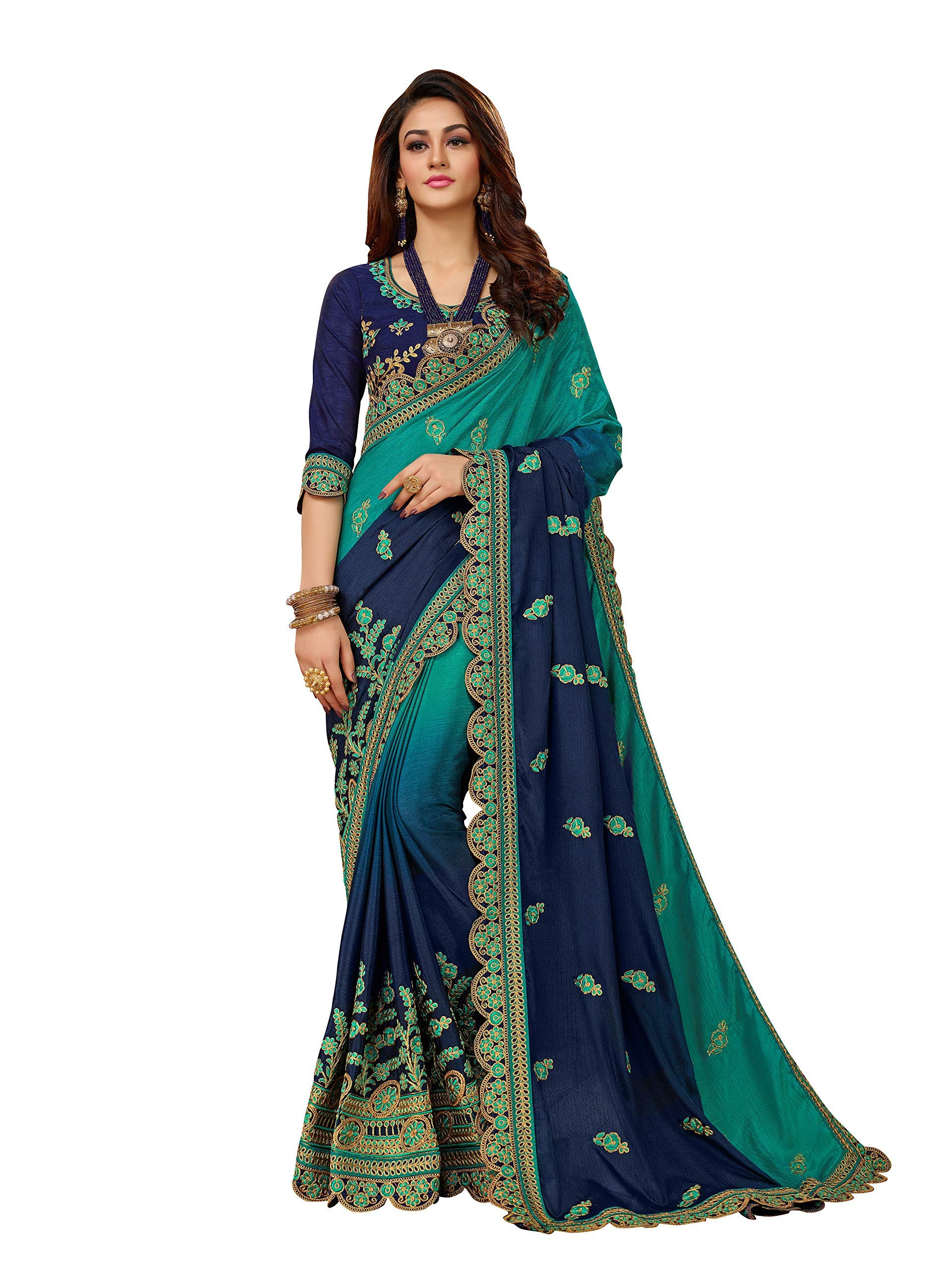 MANOHARI Blue Chiffon Embroidered Saree with Blouse