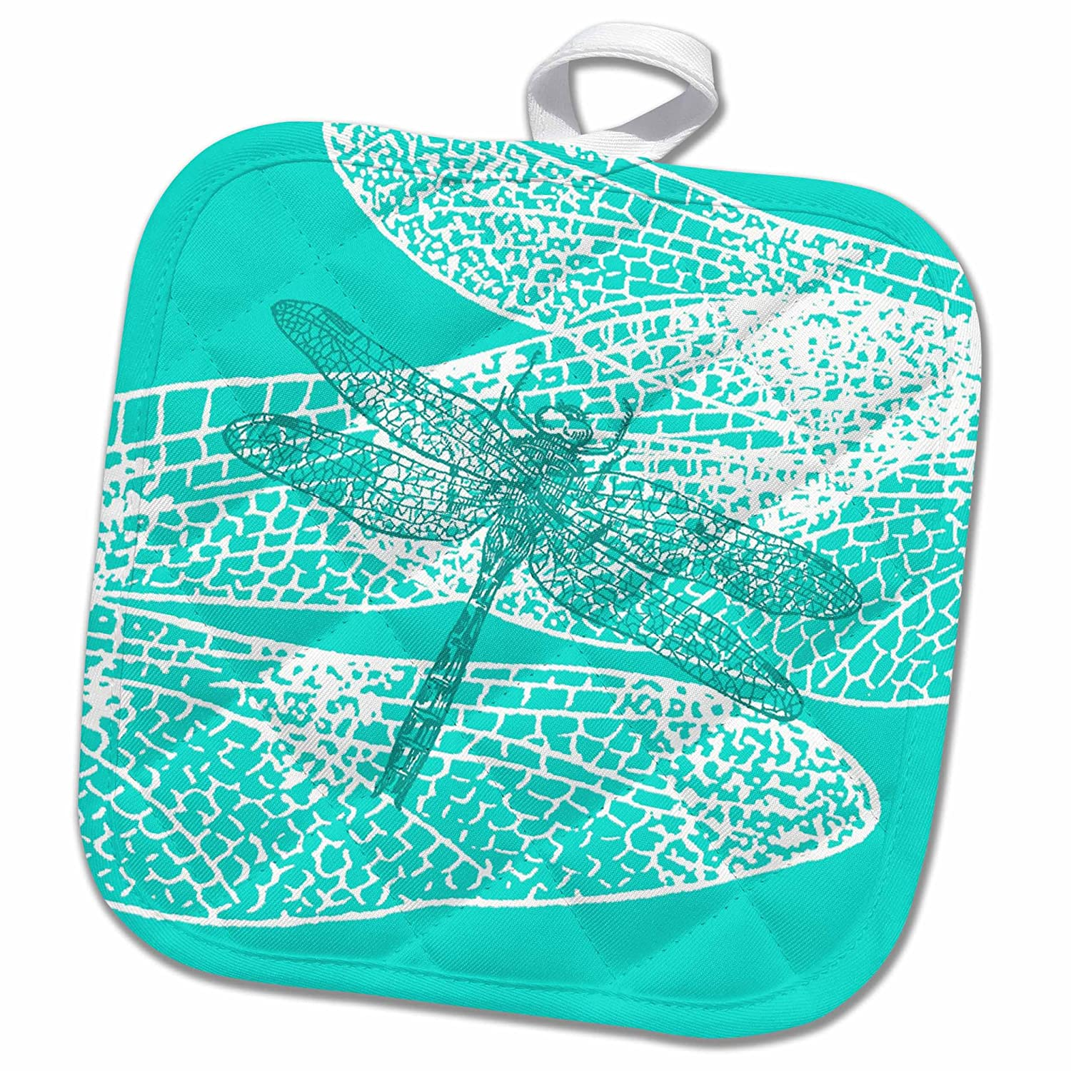 8 X 8 3d Rose Pretty Dragonfly Wing Design In Turquoise And Blue Pot Holder Home Kitchen Kitchen Dining