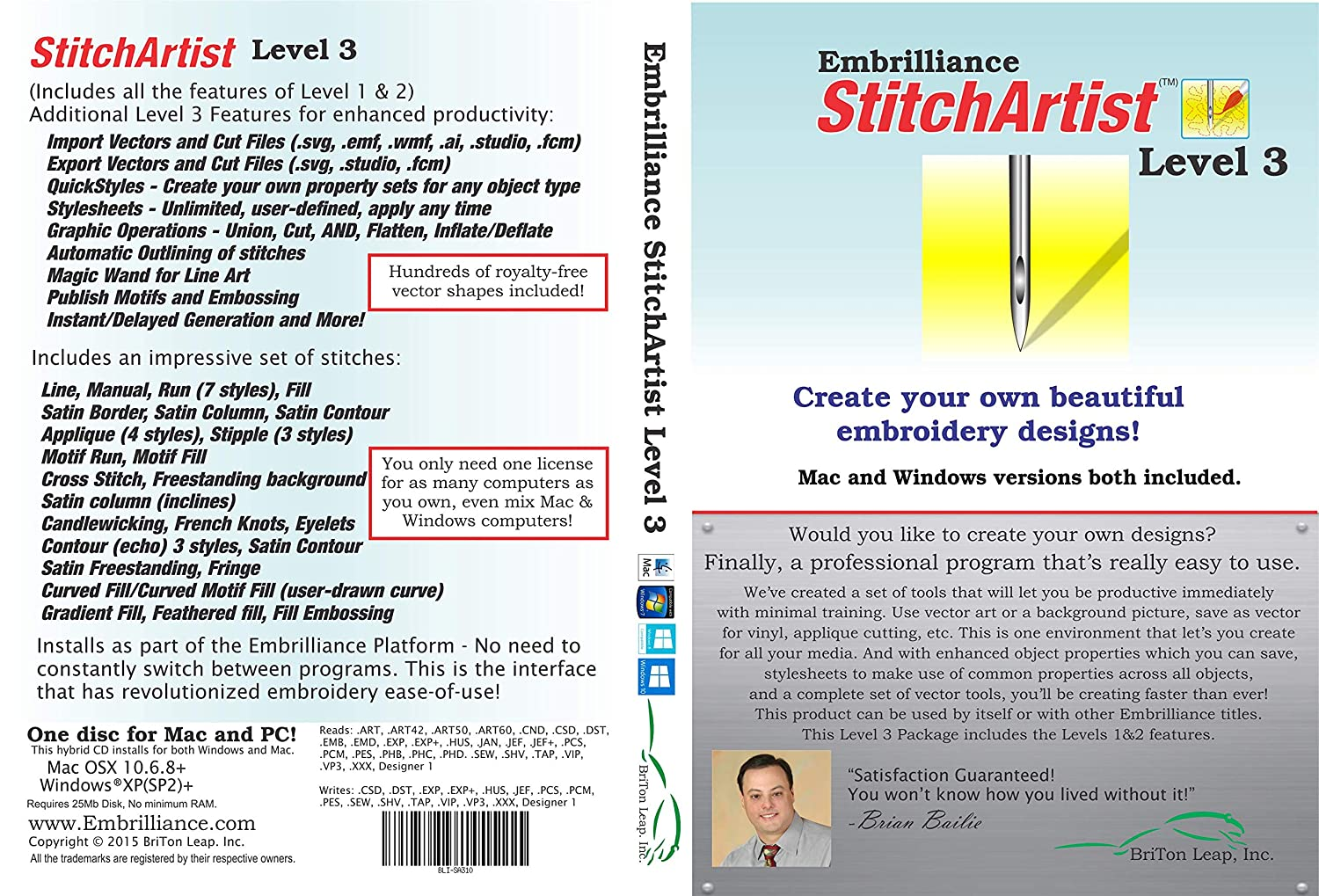 Embroidery Software-Best commercialized: Embrilliance Stitch Artist Level 3 Digitizing Software for MAC and PC