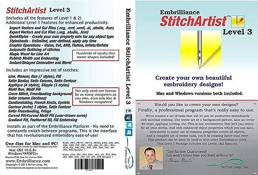 Amazoncom Embrilliance Stitchartist Level 3 Digitizing Embroidery