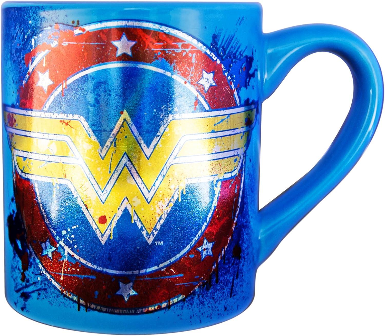 Silver Buffalo WW110532Z DC Comics Wonder Woman Splatter Paint Logo Laser Ceramic Mug, 14-Ounces
