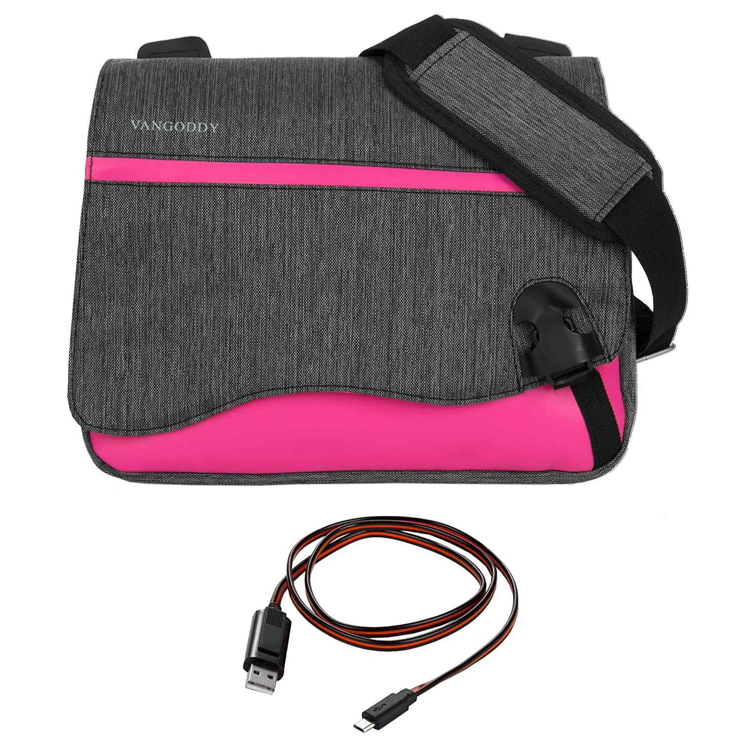 8d81bd0a12a8 Amazon.com  Micro USB Cable + Vangoddy 10 Inch Messenger Shoulder Bag  Satchel Sling Bag (Magenta) for Acer Iconia One 10 Tab 10 SWitch One 10  Series 10.1
