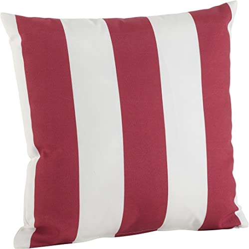 SARO LIFESTYLE Indoor Outdoor Classic Awning Stripe Poly Filled Throw Pillow 1902.R21S , 21 , Red