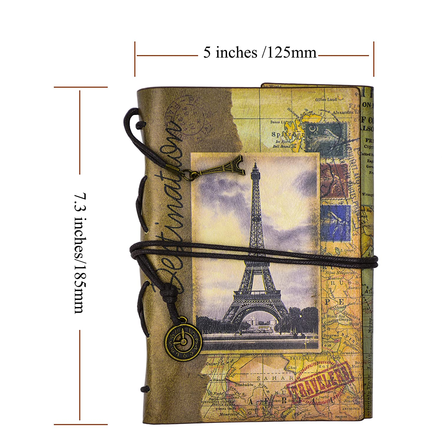Travel Diary Book Green-stamp FX Classic Vintage Style Journal Writing Leather Refillable Spiral Notebook 7.3 x 5 Inches Perfect Gift as Art Sketchbook
