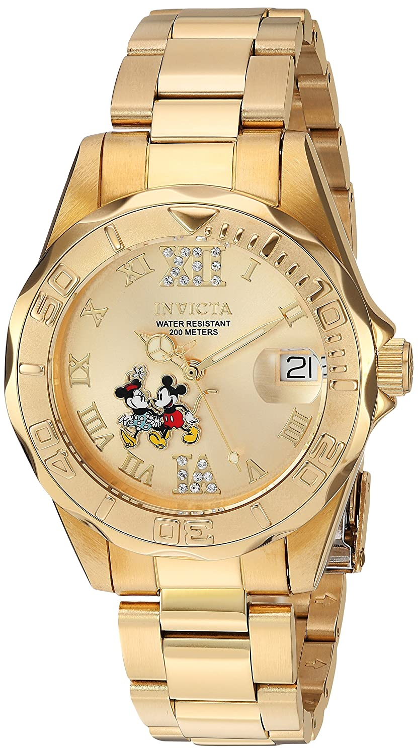 Amazon.com: Invicta Womens Disney Limited Edition Quartz Stainless Steel Casual Watch, Color:Gold-Toned (Model: 22868): Invicta: Watches