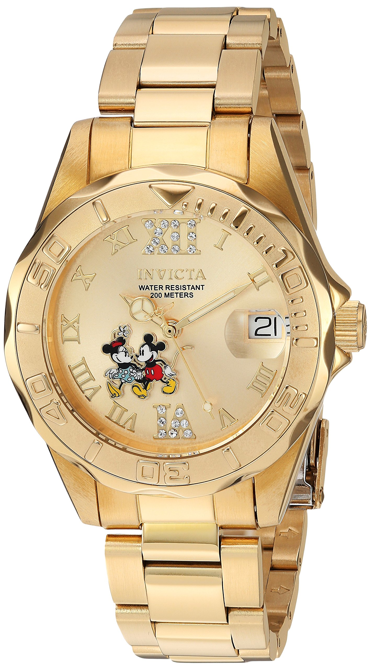 Invicta Women's 'Disney Limited Edition' Quartz Stainless Steel Casual Watch, Color:Gold-Toned (Model: 22868)