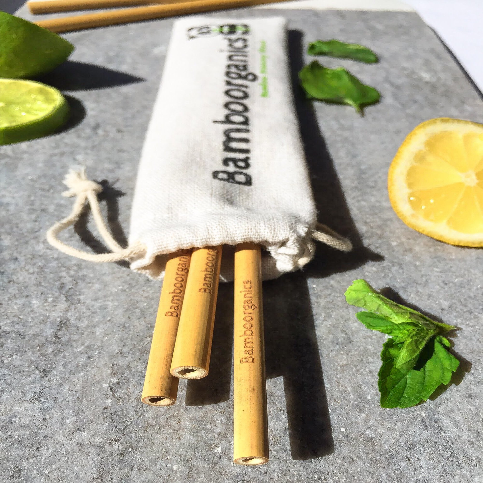 Zero Waste, Reusable, Premium Bamboo Drinking Straws & Natural Cotton Travel Bag | Large Mouth Straw Set of 10 with 2 Cleaning Brushes | Eco-Friendly, Biodegradable | 8in Long by Bamboorganics (Image #6)
