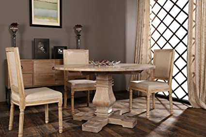 Amazon classic rustic style round dining room kitchen table classic rustic style round dining room kitchen table with distressed details beige watchthetrailerfo