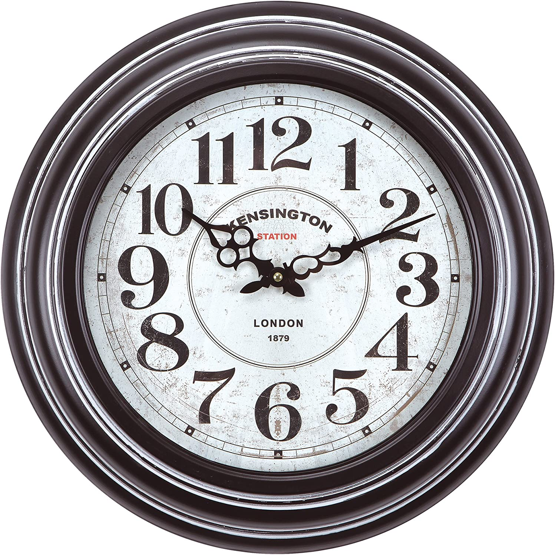 Yosemite Home Decor Circular Iron Wall Clock, Black Frame, White Face, Black Text, Black Hands