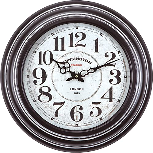 Yosemite Home Decor Circular Iron Wall Clock, Black Frame, White Face, Black Text, Black Hands