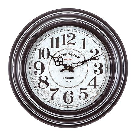 Yosemite Home Decor Circular Iron Wall Clock, Frame, White Face, Text, Black Hands