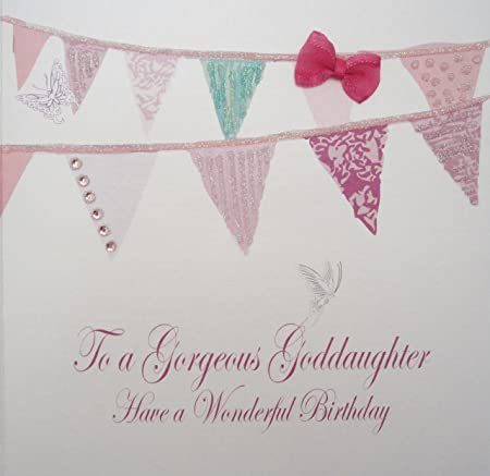 WHITE COTTON CARDS To A Gorgeous Goddaughter Have Wonderful Handmade Birthday Card Code BD190 G Bunting White Amazoncouk Kitchen Home