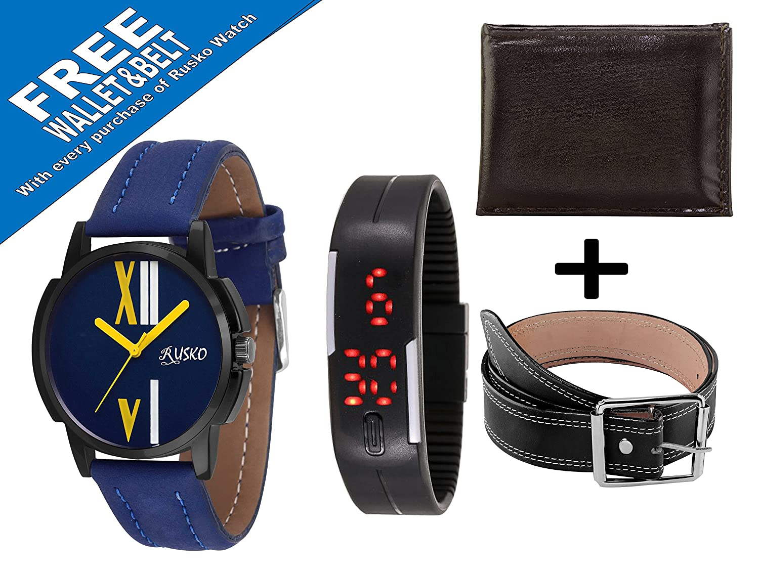 Rusko Analog Watch + Free Digital Band, Gents Wallet and Belt