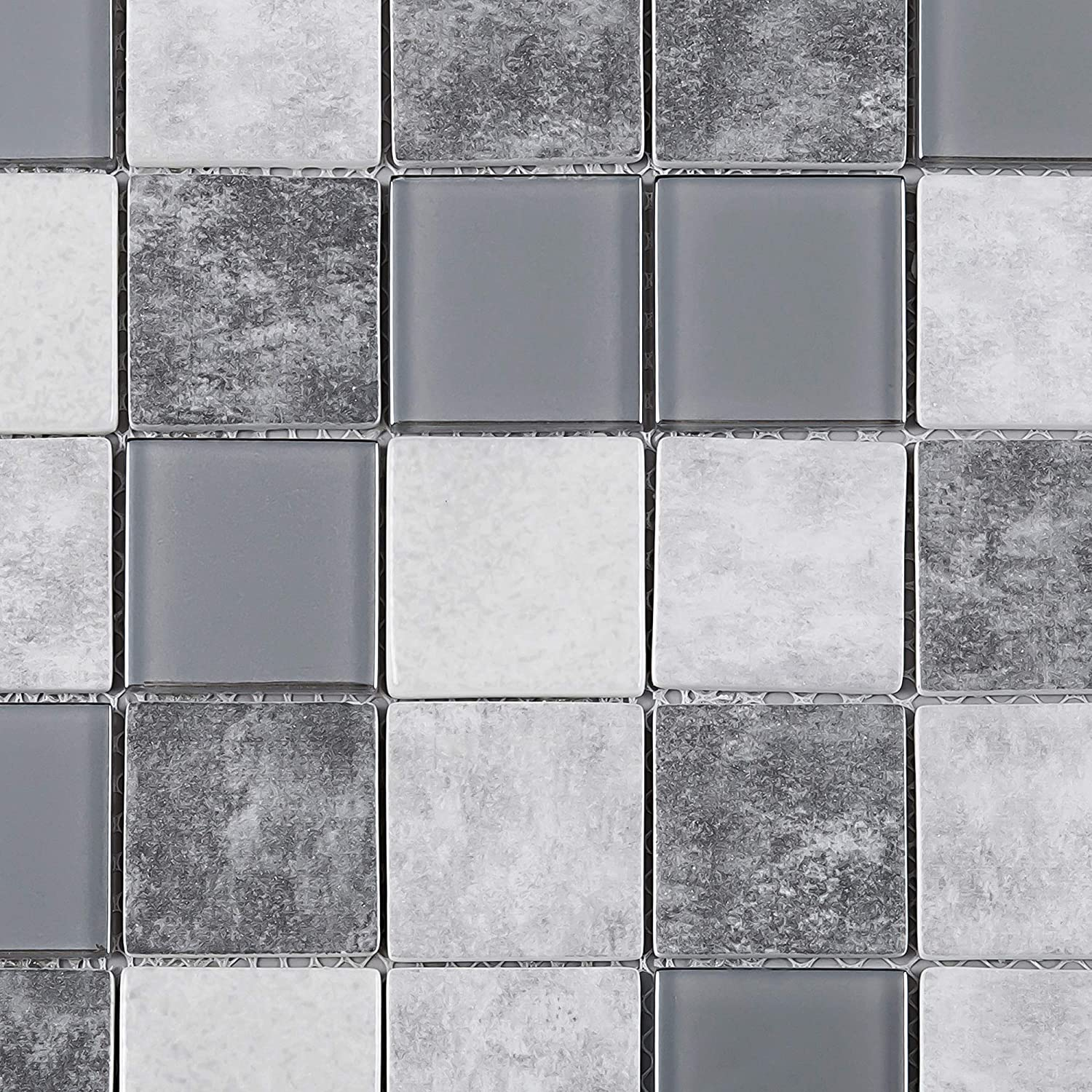 - Amazon.com: TREGLG-02 Grey 2x2 Grid Recycle Glass Mosaic Tile