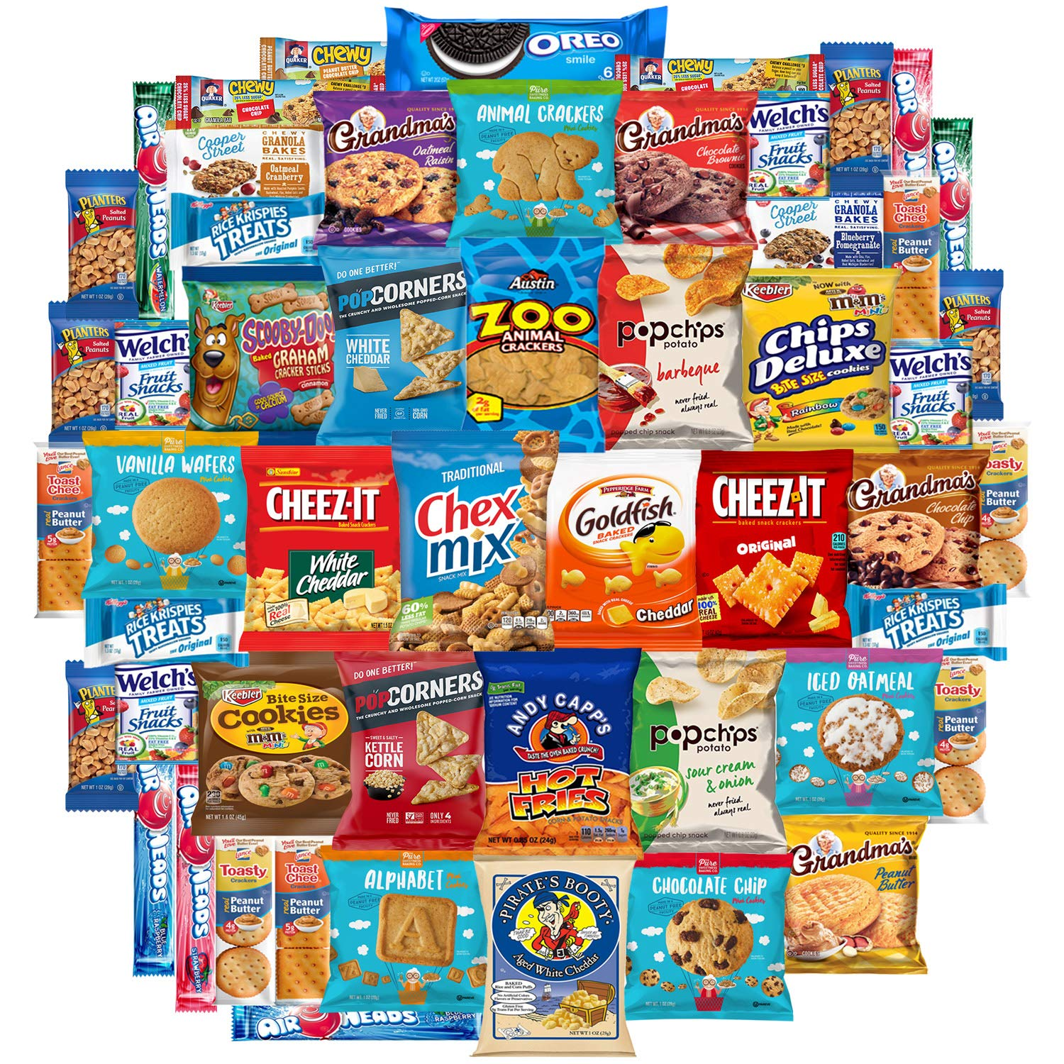 Snack Chest Munchies Care Package Chips Cookies & Candy Includes Goldfish, Oreos, Skittles, Sour Patch, m&m Cookie, Air Heads, Planters Peanuts, Rice Krispies & More (50 Count)