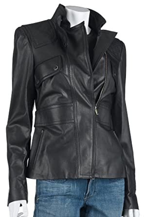 4ea79d182 Amazon.com: Gucci Women's Leather Jacket, Brown, Size: 46: Clothing