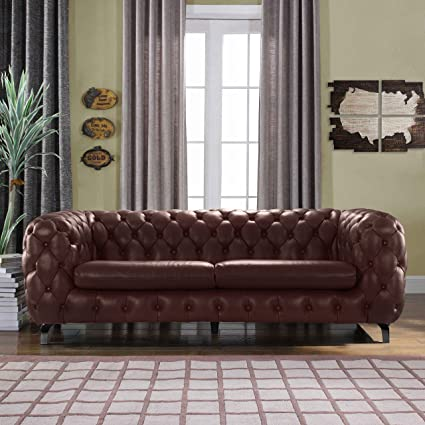 Outstanding Divano Roma Furniture Modern Real Leather Tufted Chesterfield Sofa Couch With Built In Shelving Space Brown Machost Co Dining Chair Design Ideas Machostcouk
