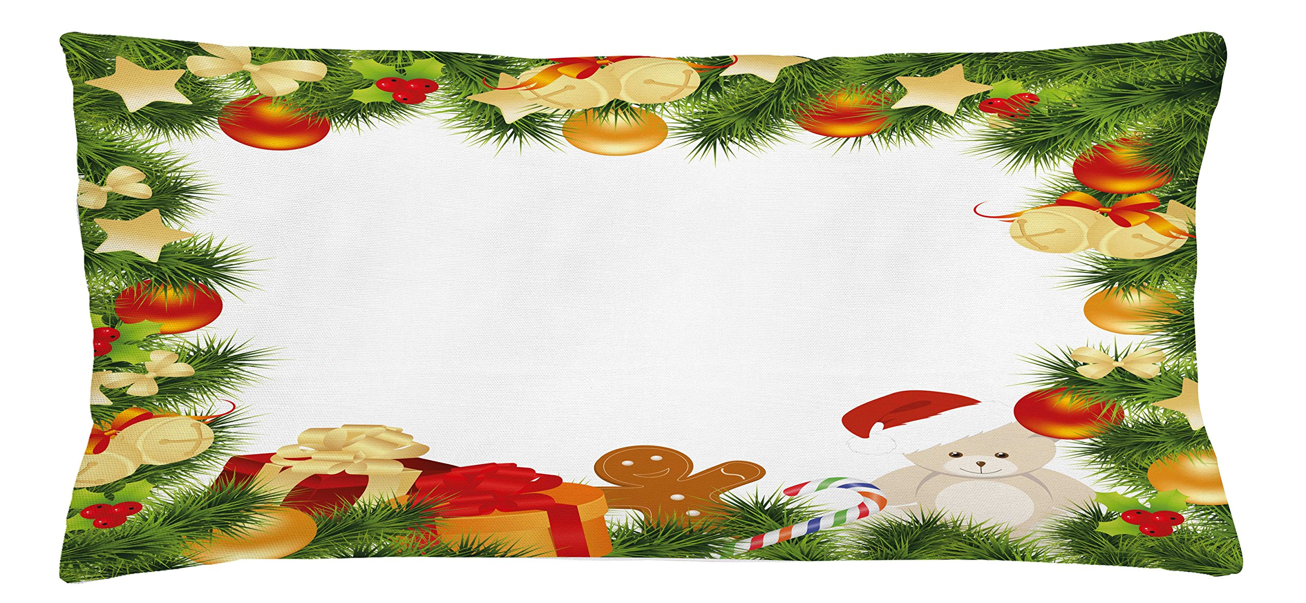 Ambesonne Kids Christmas Throw Pillow Cushion Cover, Garland Frame Design with Evergreen Fir Tree Bear Toy and Gingerbread Man, Decorative Square Accent Pillow Case, 36 X 16 inches, Multicolor