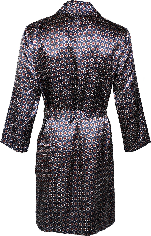Octave/® Mens Summer Printed Satin Kimono Wrap//Robe//Dressing Gown
