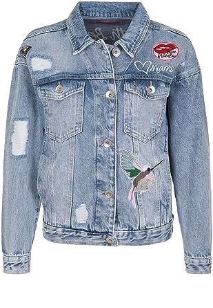 Frieda   Freddies Damen Jeansjacke mit bunten Aufnähern Patches ... 17308a4e6f