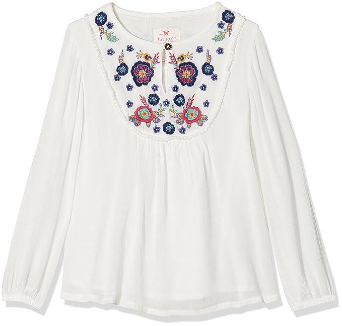 Fat Face MERA Embroidered, Blusa para Niñas, Marfil (Ecru), 8-