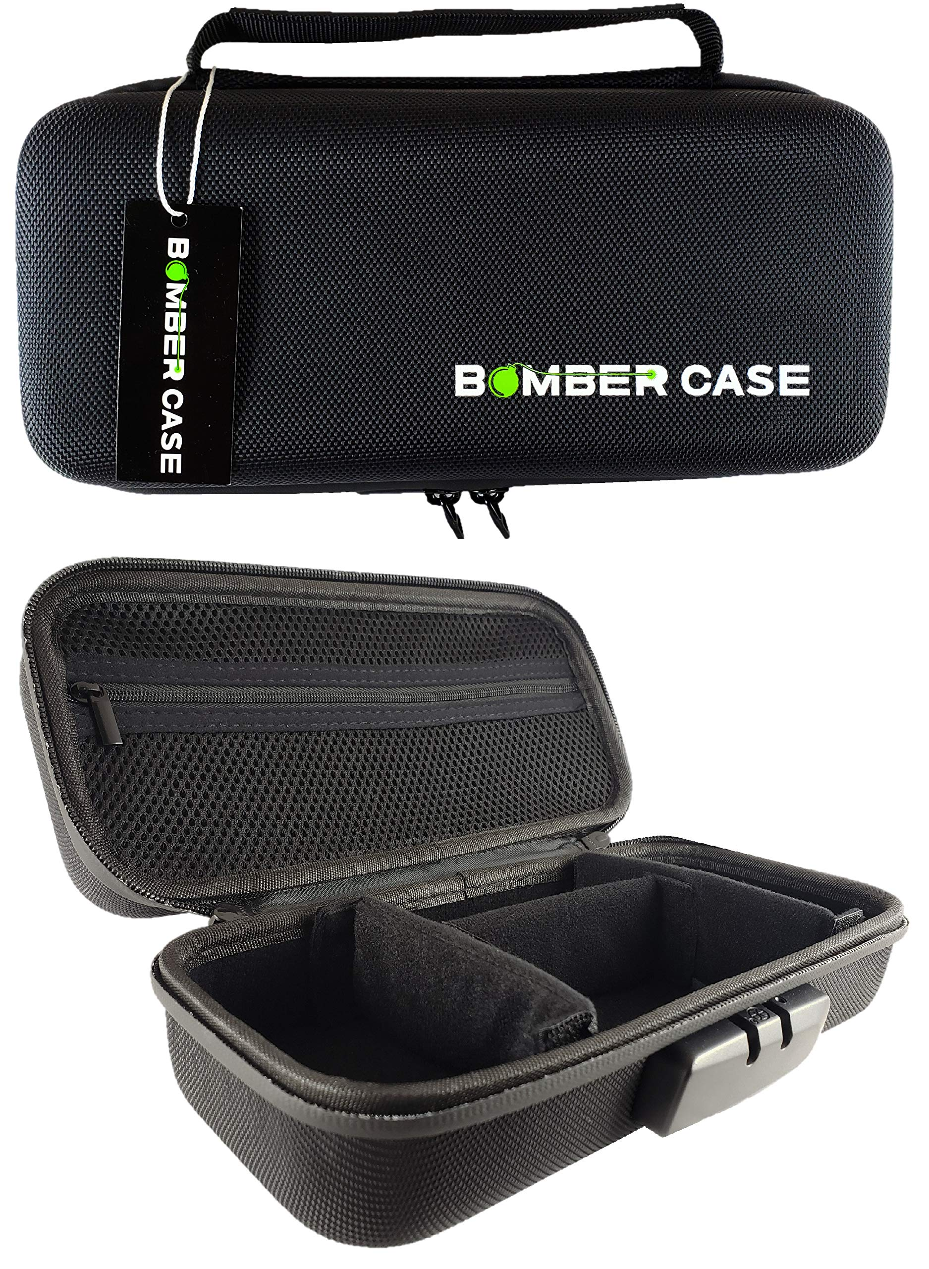 BOMBER CASE - Stash Case - Locking - Smell Proof - Customizable Padded Interior - Fits up to 9.5'' x 4'' - Soft Sides with Odor Proof Zipper and Combination Lock - No Smell - Black