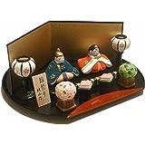 王朝雛セット 省スペースで飾れるひな人形 陶器製 手描き
