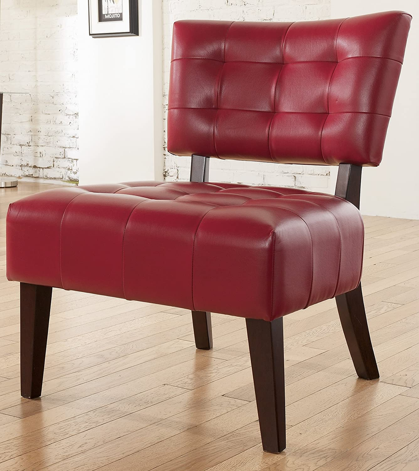 Amazon Roundhill Furniture Blended Leather Tufted Accent