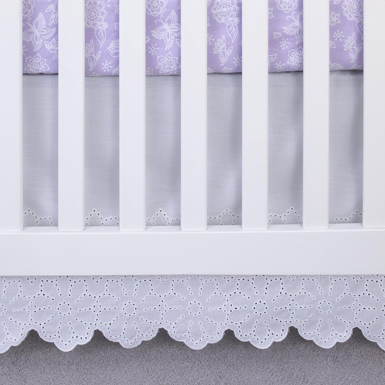 Amazon Com Nojo Eyelet Lace Crib Skirt Dust Ruffle White 18 Baby