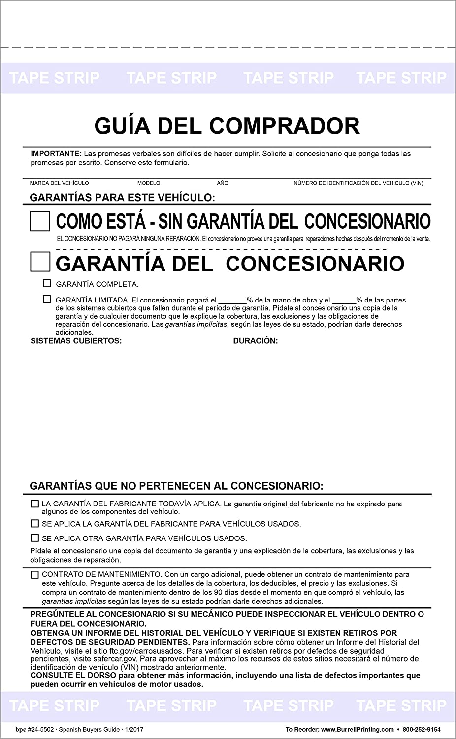 Amazon.com : Buyers Guide Form - Adhesive Tape - Spanish - As is - Warranty Pack of 50 Forms : Office Products